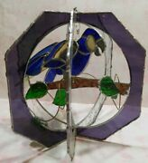 Vintage Stained Glass Hanging Blue Parrot On Branches Green Leaves Estate Find