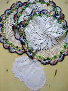 Vintage Box Of Linens Crochet Doilies Lace Table Cloths And Runners Napkins