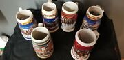 Vintage Beer Steins Mugs Coors Budweiser Strohs Lot Of 6 Rare Great Condition