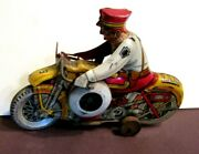 """Vintage Marx Toy Tin Litho Wind Up Motorcycle """"rookie Cop"""" W/siren"""