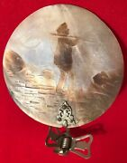 Antique Carved Cameo Mother Of Pearl Shell Clip Candle Shade Lamp Light Nautical