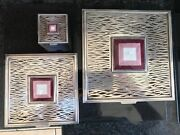 Silver And Guilloche Enamel Silver Boxes. Rare Set Of 3. 1416gms. Superb Quality