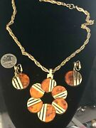 Crown Trifari Modernist Huge Circular Necklace And Earrings Faux Tortoise Shell