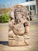 Old Sandstone Ganesha Statue From India, Middle 20th Century