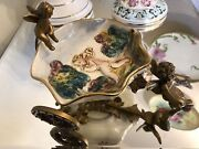 Capodimonte Chariot With Signed And Numbered Dish Bumes Adorable Dish Putti