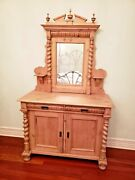 Moving Sale Antique Pine Two Door Dresser Base And Mirror 48 X 22 X 73