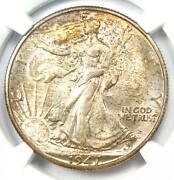 1947-d Walking Liberty Half Dollar 50c Coin - Certified Ngc Ms67 - 2750 Value