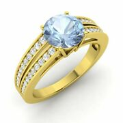 Certified 1.55 Cttw Natural Aquamarine And Diamond 14k Yellow Gold Engagement Ring