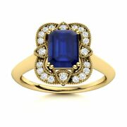 Certified Vintage Style Blue Sapphire Engagement Ring W/ Diamond 14k Yellow Gold