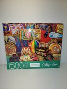 1500 Pc Jigsaw Puzzle Mb Collage Time 32 X 24 Vintage Handbags New