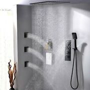 20 In Matte Black Thermostatic Rain Shower System With Hand Shower And Body Sprays
