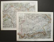 1897 Set Of 2 Antique Maps Of Bavaria, Germany. Bayern. Munich. 123 Years Old