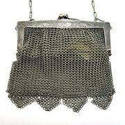 Antique German Silver Mesh Chain Link Mail Purse Clutch Evening Bag Hinged Frame