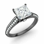 Princess-cut Natural White Topaz And Diamond Engagement Ring In 14k Black Gold