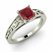 Certified Princess Natural Aaa Ruby Vintage 14k White Gold Engagement Ring
