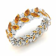 Certified 3.28 Ct Natural Citrine And Si Diamond Eternity Ring 14k White Gold