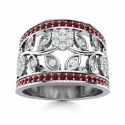Certified 0.85 Ct Natural Ruby And Diamond Flower Cocktail Ring In 14k White Gold