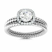 Certified 0.5 Ct Natural Topaz And Diamond Halo Bridal Ring Set 14k White Gold