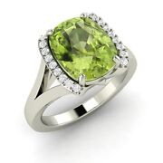 3.43 Ct Certified Real Peridot And Si Diamond Solid 14k White Gold Engagement Ring