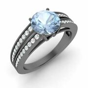 Certified 1.55 Cttw Natural Aquamarine And Diamond 14k Black Gold Engagement Ring