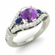 Real Amethyst Engagement Ring 14k White Gold W/ Sapphire Si Diamond Weekend Sale
