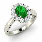0.21 Ct Oval Cut Emerald And Si Diamond Halo Engagement Ring In 14k White Gold