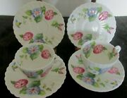 6 Pcs Embassy Ware Bone China Fondeville Morning Glory Demi Cup And Saucer Sets