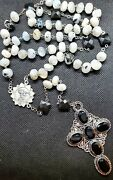 Rainbow Moonstone And Onyx Sterling Silver Rosary Necklace Necklace Onyx Ss Cross