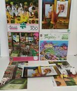 Lot Of 4 300 Piece Jigsaw Puzzles Cat Puppies Garden Shed Tropics Sea Country