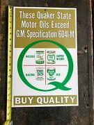 Vintage 1968 Quaker State Oils 6041-m Store Front / Garage Wall Board Sign