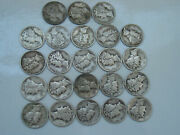 All 1941d Short Stack Roll 23 Circulated Silver Mercury Dimes