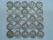 All Choice Vf And Better 1942p 1/2 Roll 25 Circulated Silver Mercury Dimes