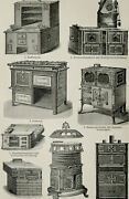 1895 Antique Print Of Ancient Kitchen Stoves, Different Types. Stove. Ranges.