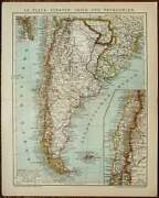 1900 Antique Map Of Argentina, Chile, Uruguay. . South America. Vintage