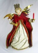 Vintage Wax Angel Velvet Brocade W/ Candle And Music Scroll 22 Tree Topper - Wow