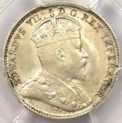 1909 Pointed Leaves Canada Edward 5 Cent Piece 5c - Pcgs Au55 - Rare Variety