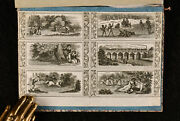 C1880 Album Of Engravings And Bookplates Leather Bound Scrapbook