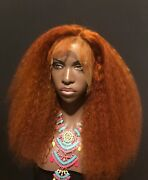 24 360 Lace Wig Copper Red Orange Kinky Curly And039creeand039 Wig 100 Human Hair