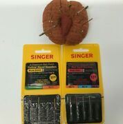 Vintage Red Tomato Fabric Pin Cushion And Vintage Singer Sewing Machine Needles