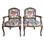 Pair Ethan Allen French Louis Xv Style Floral Fauteuils With Throw Pillows