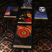 New Wheel Of Fortune Tarot 78 Bronzing Black Cards Golden Line With Card Bag