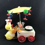 Md77 Vintage Tin Toy Duck Pushing Cart China Ps 717 Spring Wind-up Plastic