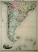 1892 Antique Large Map Of South America Argentina, Chile, Uruguay, Bolivia...