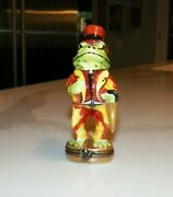Vintage Peint Main Limoges France Frog With Tophat And Tails Trinket Box 4
