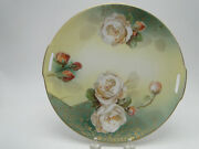 Old Rs Germany 9 9/16in Floral Cake Plate Hand Painted Roses Floral Gold Trimmed