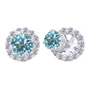 3 Ct Light Blue Moissanite Prong Studs And Earrings Halo Jackets In 10k White Gold