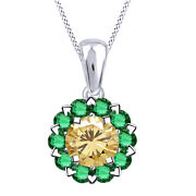 2 Ct Golden Moissanite And Emerald 10k White Gold Halo Pendant Necklace