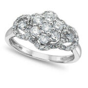 1.00 Ct Round Cut Real Diamond 14k White Gold Fashion Engagement Ring For Womens