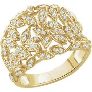 Genuine 1/2 Ctw Diamonds Leaf Design Band Ring 14k. Yellow Or White Or Rose Gold