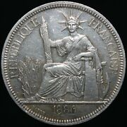 1886 A | French Indochina Piastre | Silver | Coins | Km Coins